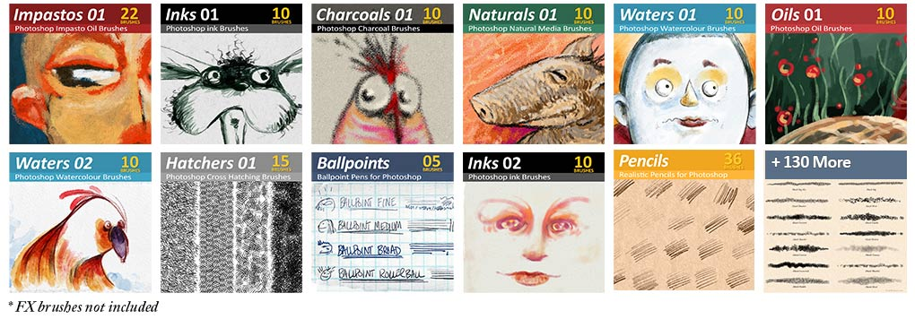 240 Photoshop Brushes for digital artists