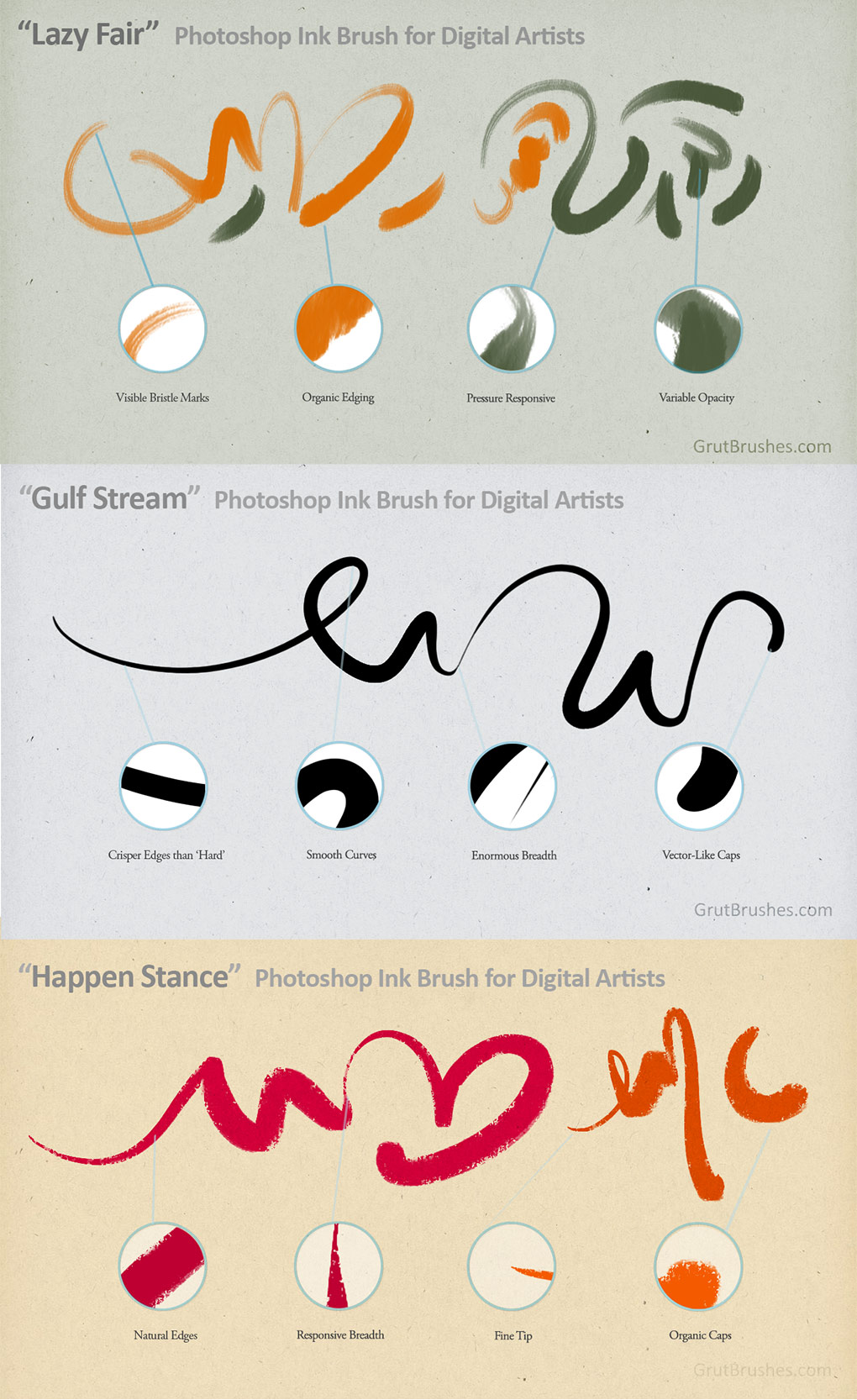 3 of the Photoshop Ink Brushes included in the Art Brushes Complete Set
