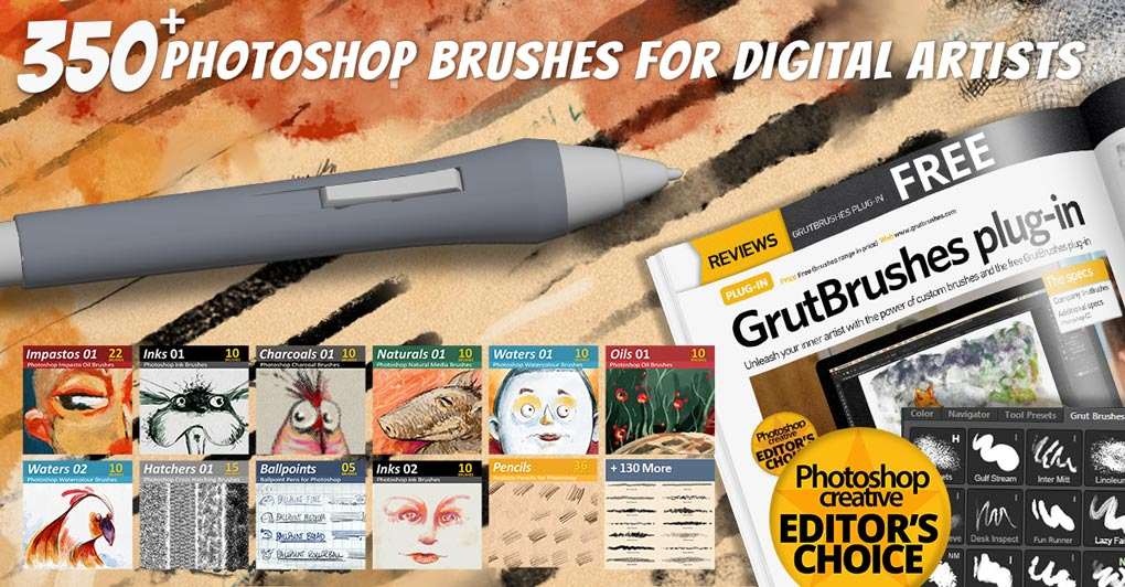 over 350 Photoshop brushes