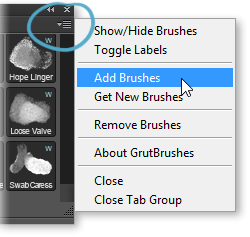 Add or remove brushes from the GrutBrushes Photoshop plugin