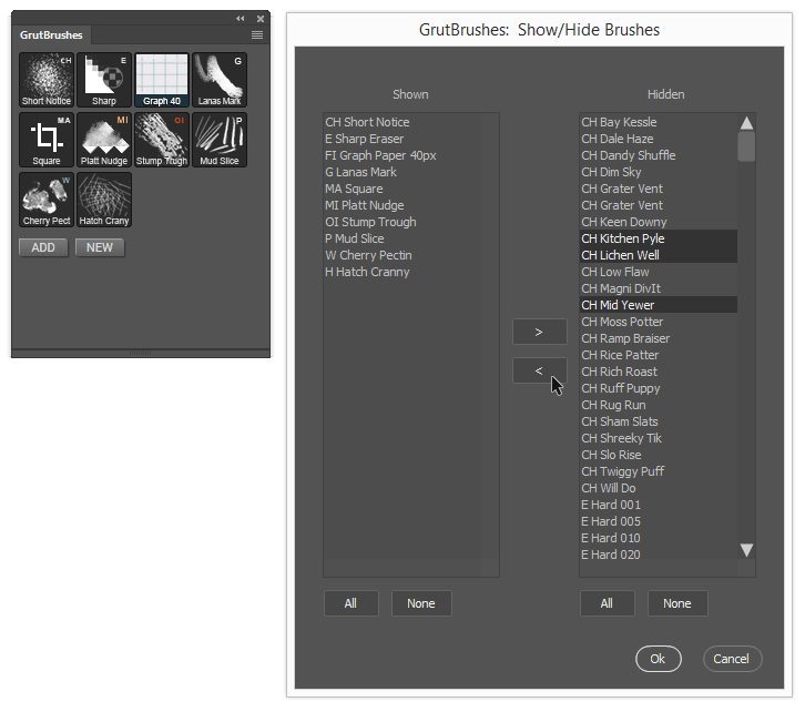 Select which Photoshop brushes you want to appear in your panel
