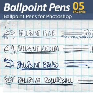 Realistic pressure responsive ballpoint pen brushes for Photoshop