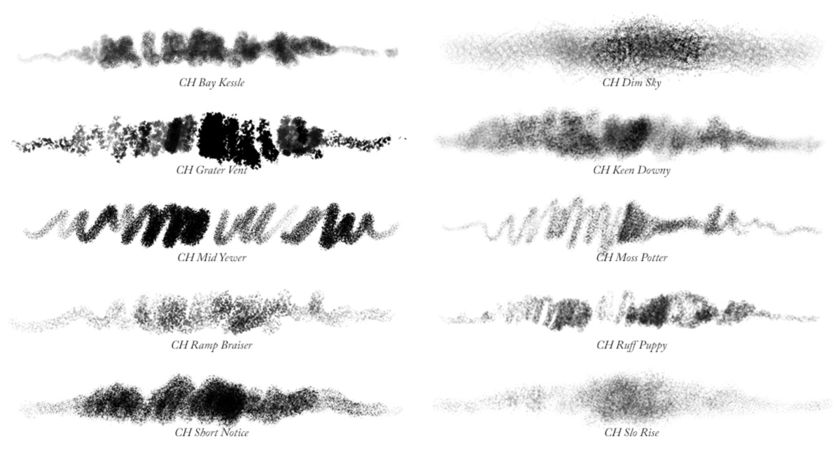 Brush Stroke samples of all 10 Photoshop charcoal brushes