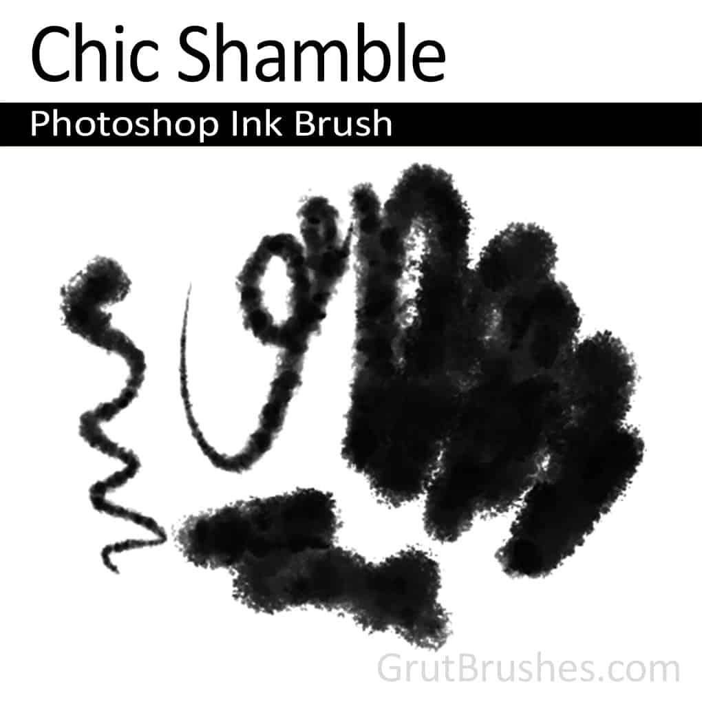 Photoshop Ink Brush strokes drawn with the 'Chic Shamble' brush