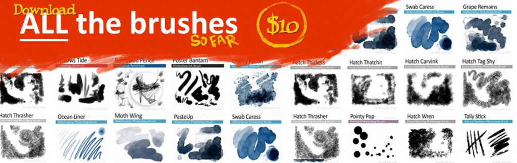 Download all the Photoshop real media brushes for digital artists
