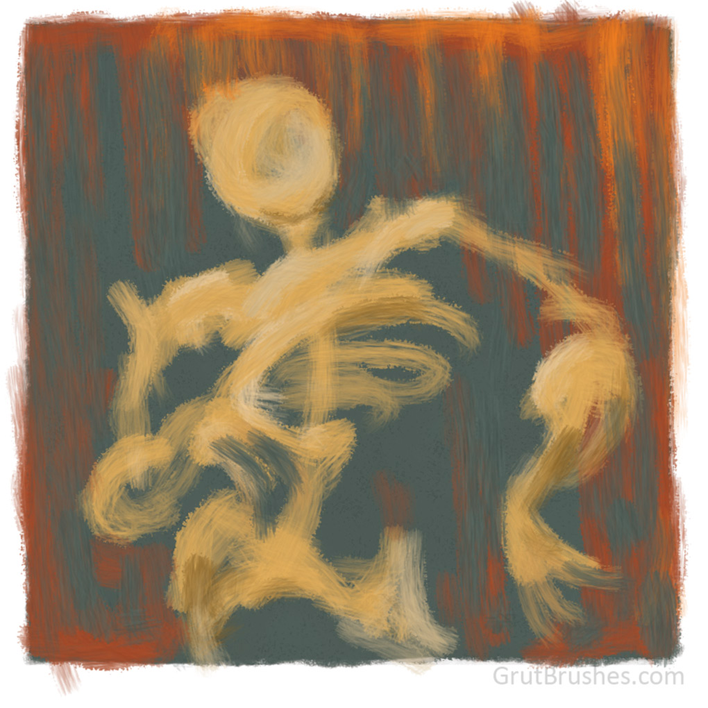 Figure painted with the Horse Main oil impasto Photoshop brush