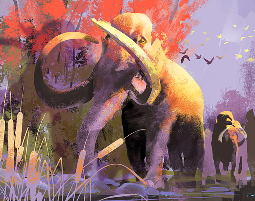 Woolly Mammoths painted in Photoshop using GrutBrushes