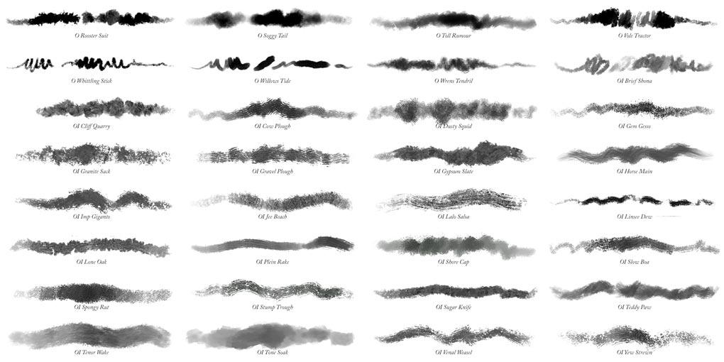 32 Photoshop oil impasto brushes
