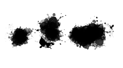 Photoshop splatter brush with ink drops and trails