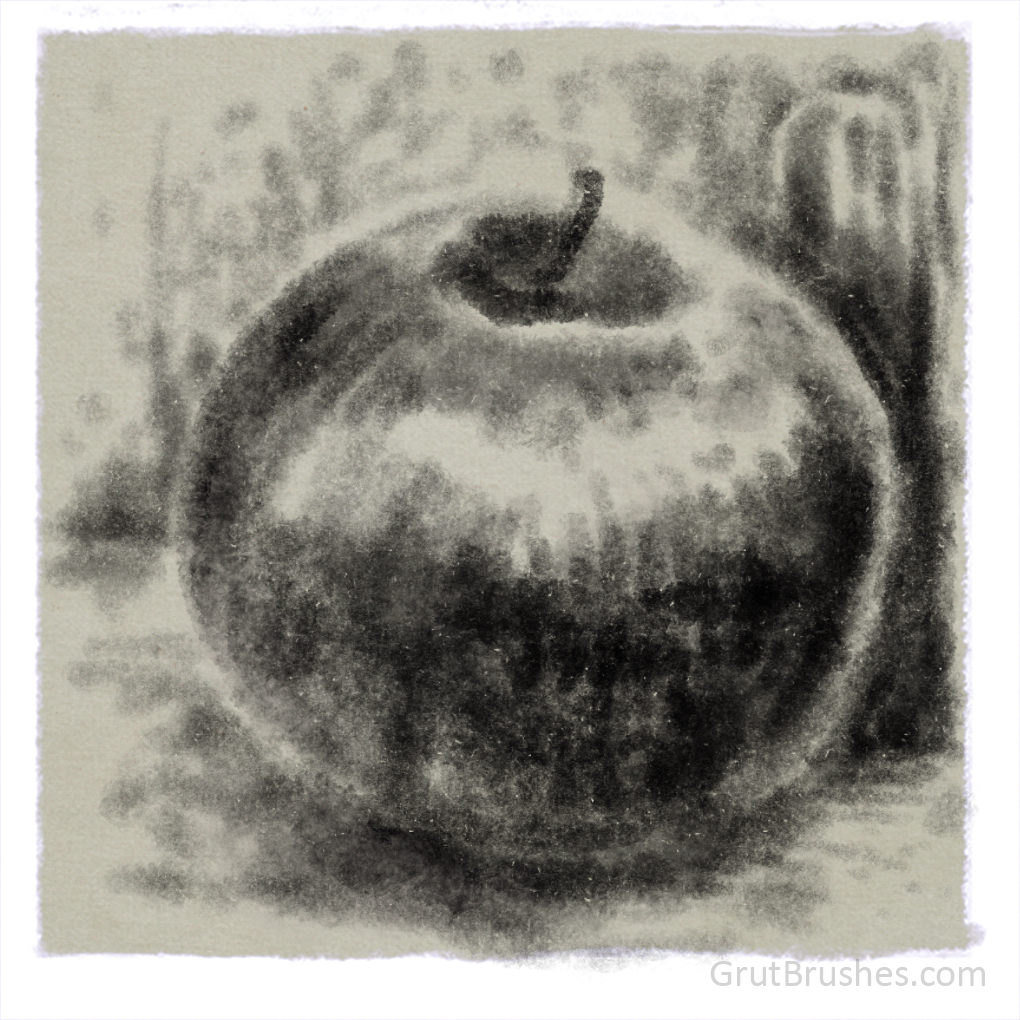 "Still Life drawn in Photoshop with the ""Rich Roast"" Photoshop brush"