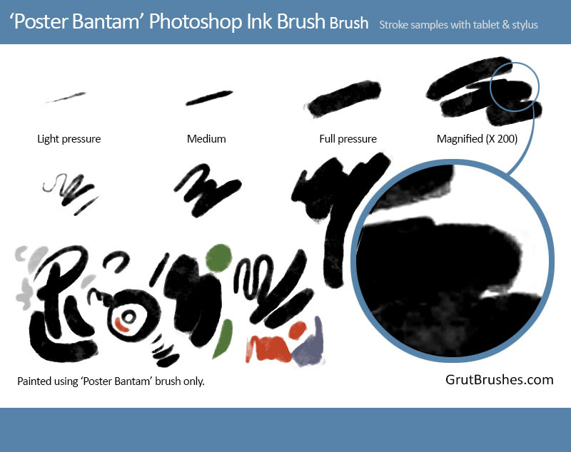 Brush strokes drawn with Poster Bantam Photoshop inking brush