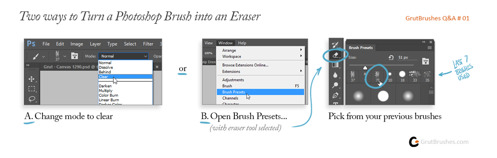 How to make an eraser out of a brush in Photoshop