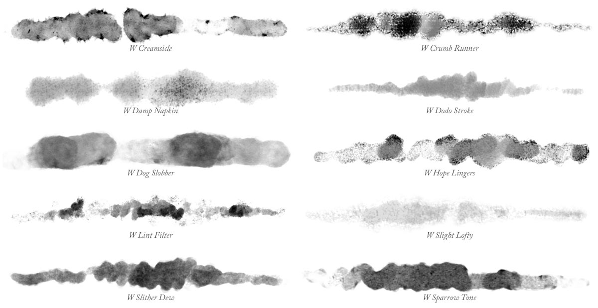 Brush Strokes painted with brushes from the Waters02 collection