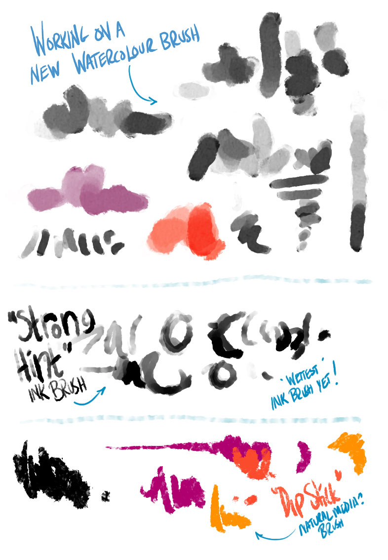 Some Brushes I'm working on in the workshop - new watercolor, gouache and ink brushes