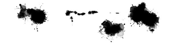 more ink splatter spray drawn with the 'Done Sprung' ink splatter Photoshop brush