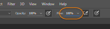 Increase flow setting in Photoshop
