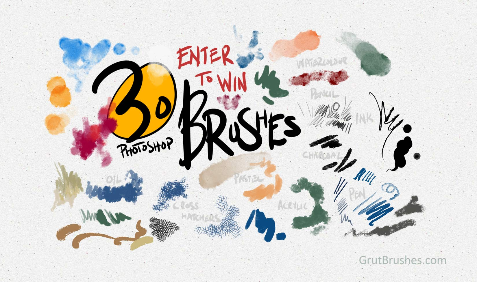 Win 30 realistic natural media Photoshop brushes for digital painters and illustrators