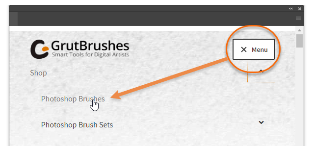 click menu > Shop to browse the Photoshop brushes