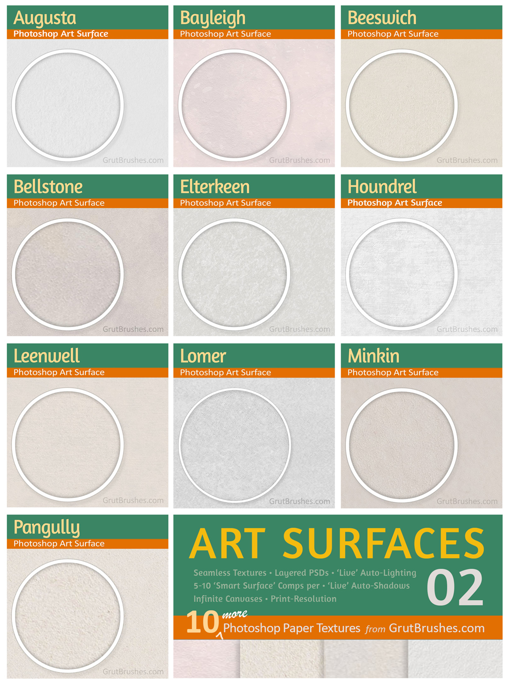 10 paper textures included in Art Surfaces 02