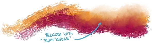 Brush strokes blended with the Platt Nudge mixer brush