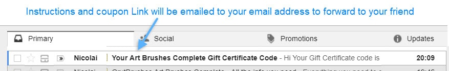GrutBrushes Gift Certificate Email