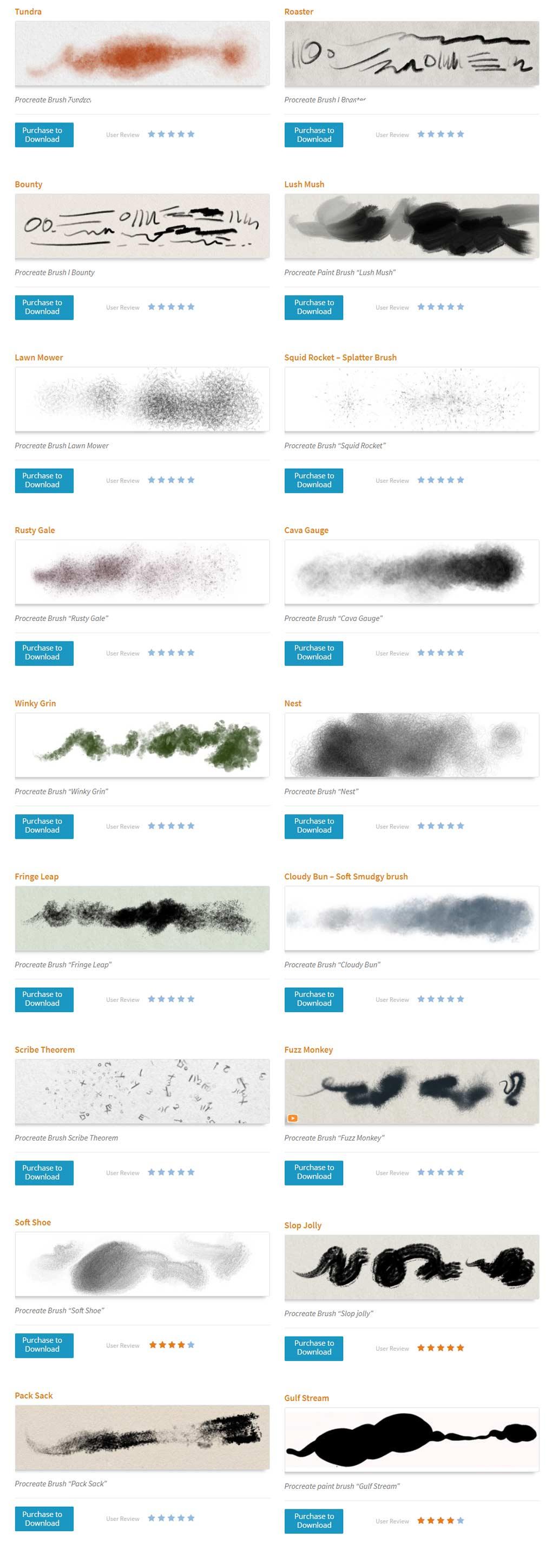 more Procreate brushes brush-stroke thumbnails